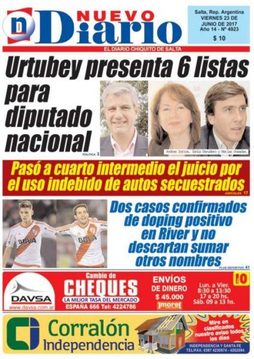 Tapa del 23/06/2017 Nuevo Diario de Salta