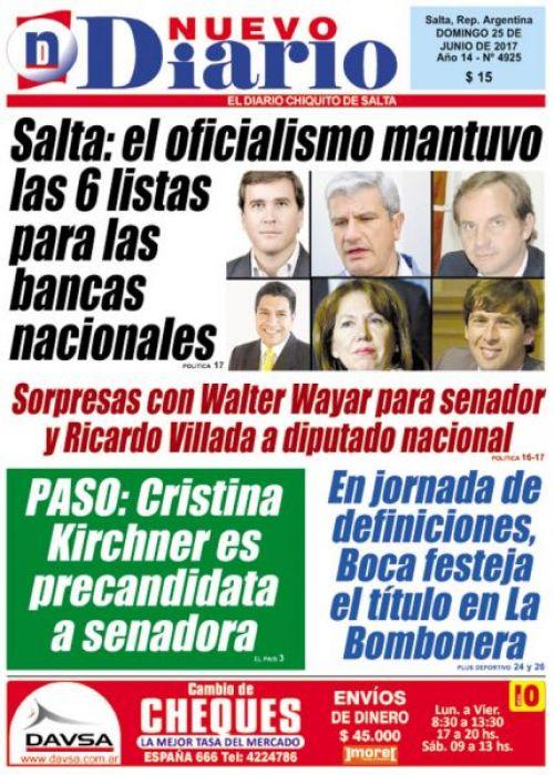 Tapa del 25/06/2017 Nuevo Diario de Salta
