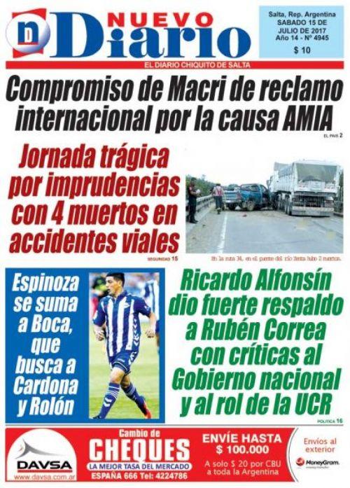 Tapa del 15/07/2017 Nuevo Diario de Salta