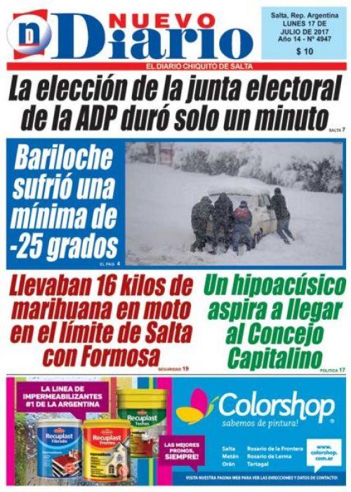 Tapa del 17/07/2017 Nuevo Diario de Salta