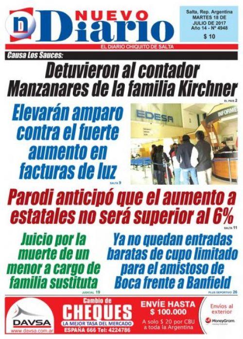 Tapa del 18/07/2017 Nuevo Diario de Salta