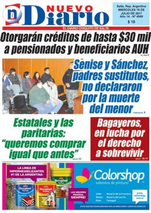 Tapa del 19/07/2017 Nuevo Diario de Salta