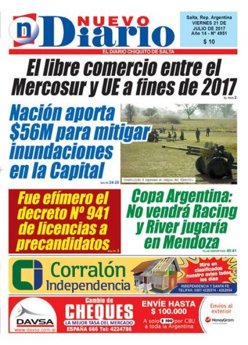 Tapa del 21/07/2017 Nuevo Diario de Salta