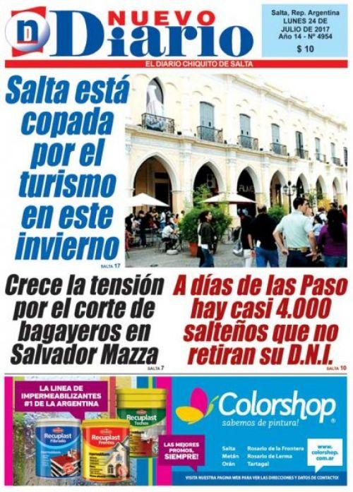 Tapa del 24/07/2017 Nuevo Diario de Salta
