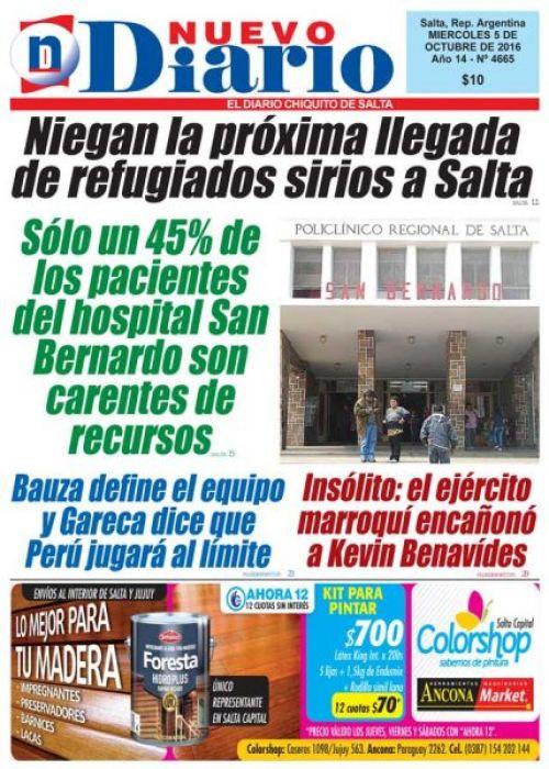 Tapa del 05/10/2016 Nuevo Diario de Salta