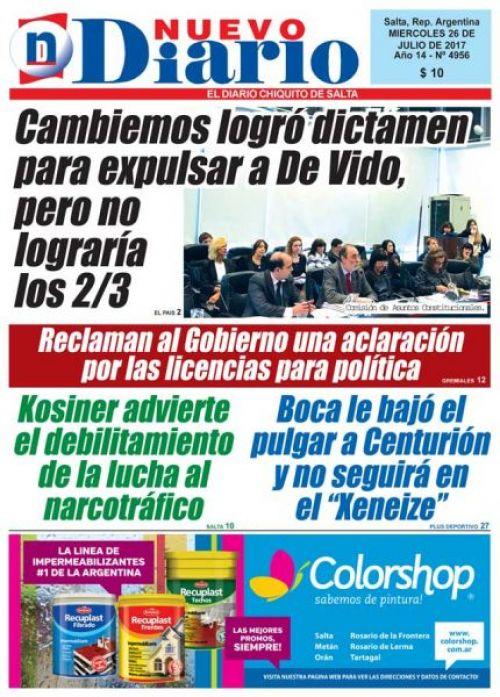 Tapa del 26/07/2017 Nuevo Diario de Salta