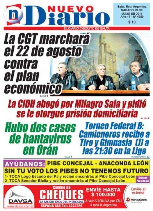 Tapa del 29/07/2017 Nuevo Diario de Salta