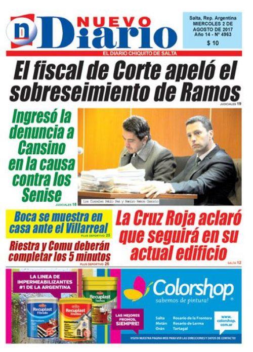 Tapa del 02/08/2017 Nuevo Diario de Salta