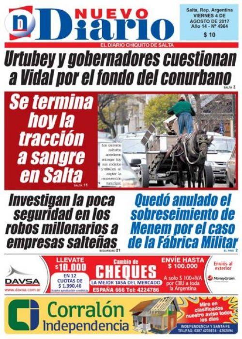 Tapa del 04/08/2017 Nuevo Diario de Salta