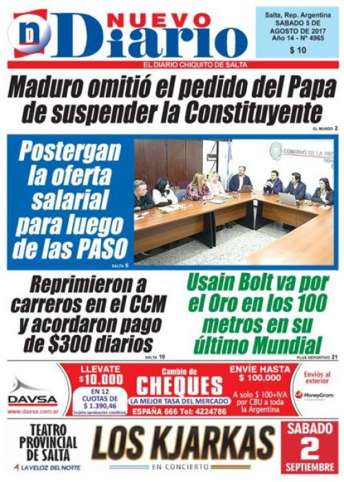 Tapa del 05/08/2017 Nuevo Diario de Salta