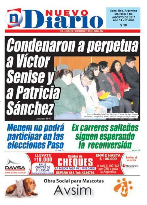 Tapa del 08/08/2017 Nuevo Diario de Salta