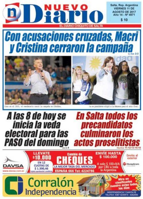 Tapa del 11/08/2017 Nuevo Diario de Salta