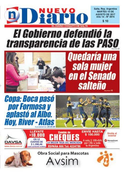 Tapa del 15/08/2017 Nuevo Diario de Salta