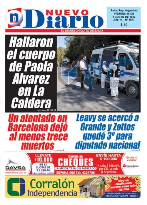 Tapa del 18/08/2017 Nuevo Diario de Salta