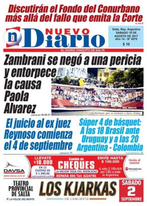 Tapa del 19/08/2017 Nuevo Diario de Salta