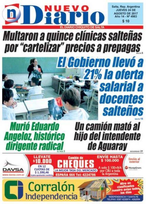 Tapa del 24/08/2017 Nuevo Diario de Salta