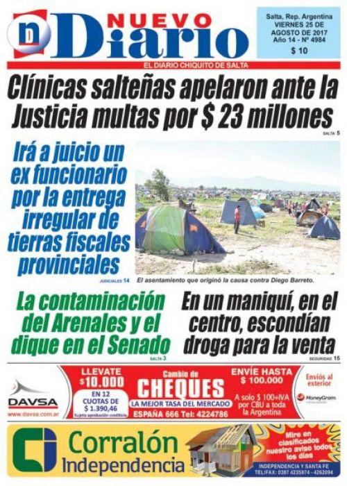 Tapa del 25/08/2017 Nuevo Diario de Salta