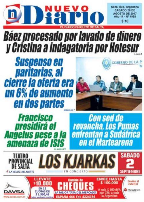 Tapa del 26/08/2017 Nuevo Diario de Salta