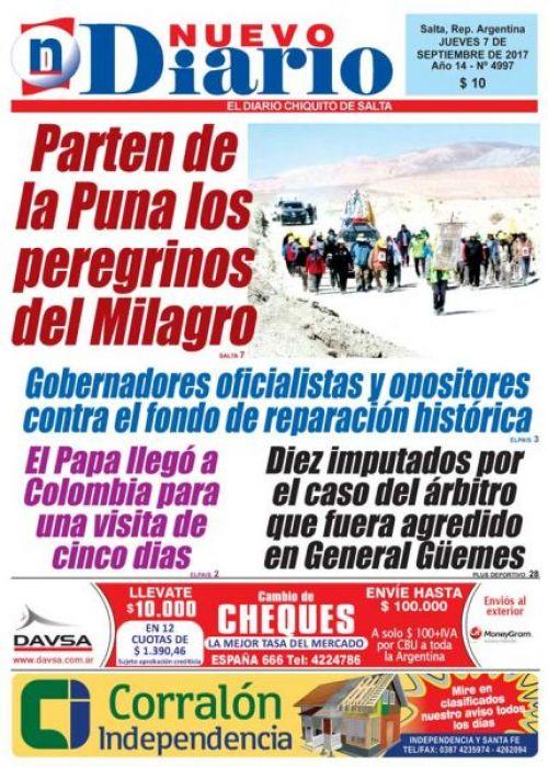 Tapa del 07/09/2017 Nuevo Diario de Salta