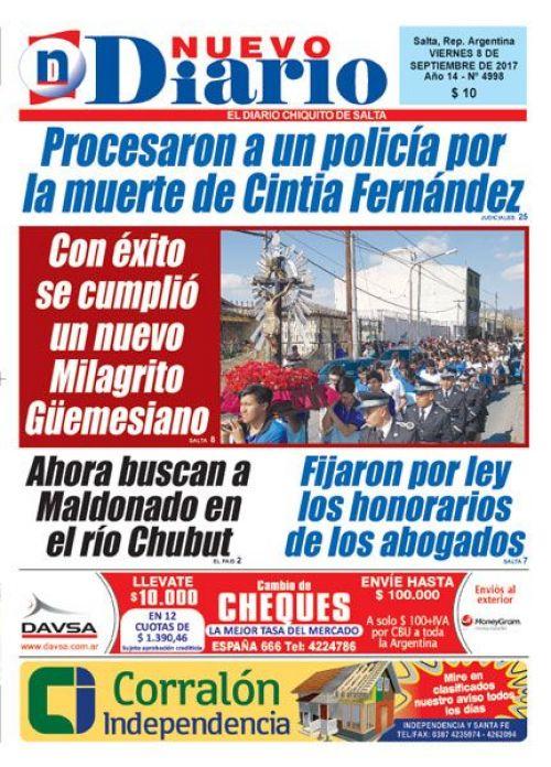 Tapa del 08/09/2017 Nuevo Diario de Salta