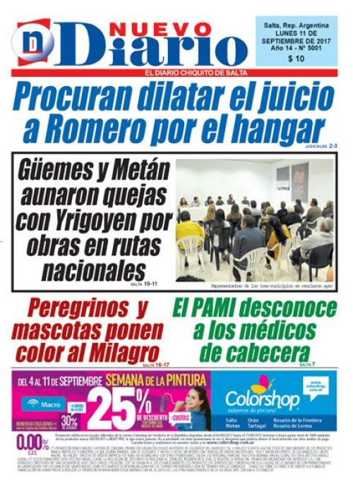 Tapa del 11/09/2017 Nuevo Diario de Salta