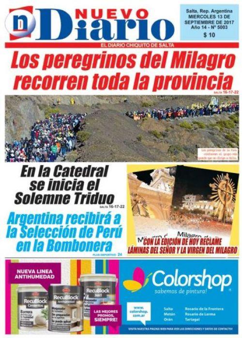 Tapa del 13/09/2017 Nuevo Diario de Salta