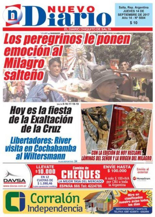 Tapa del 14/09/2017 Nuevo Diario de Salta