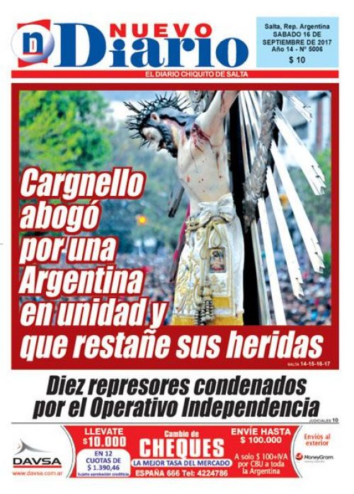 Tapa del 16/09/2017 Nuevo Diario de Salta