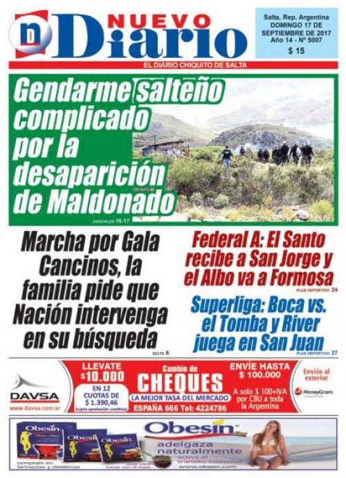 Tapa del 17/09/2017 Nuevo Diario de Salta