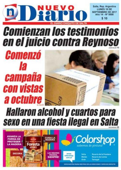 Tapa del 18/09/2017 Nuevo Diario de Salta