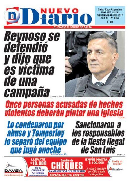 Tapa del 19/09/2017 Nuevo Diario de Salta