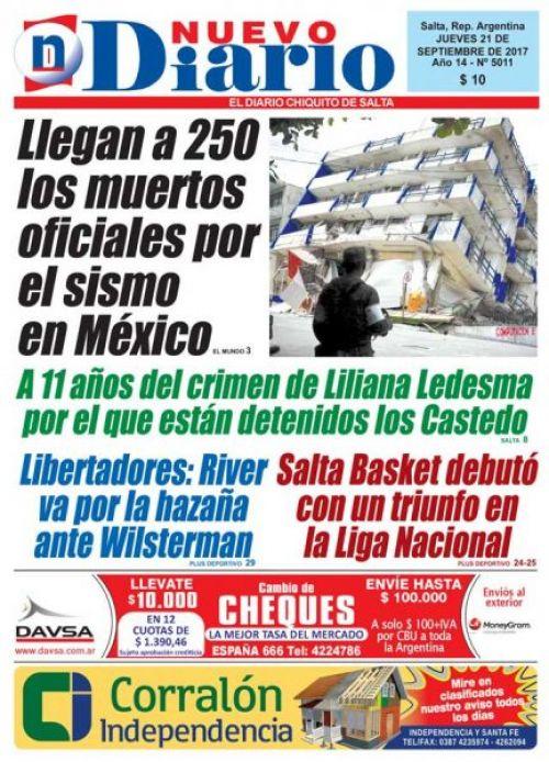 Tapa del 21/09/2017 Nuevo Diario de Salta