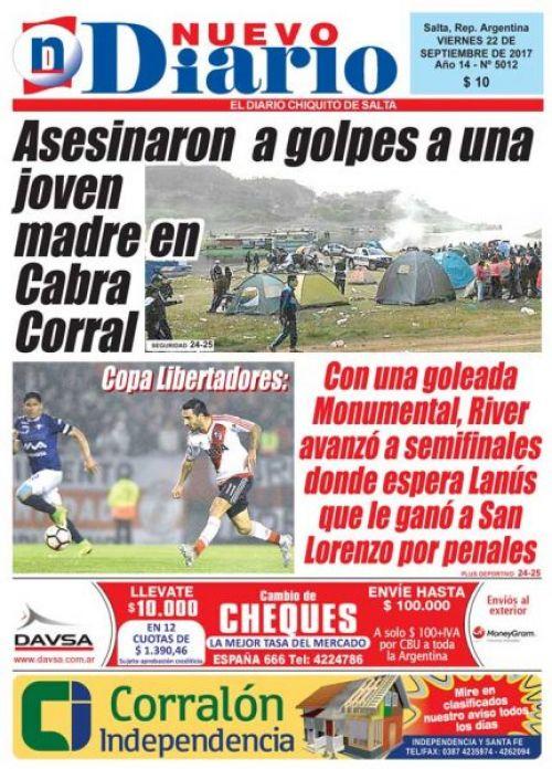 Tapa del 22/09/2017 Nuevo Diario de Salta