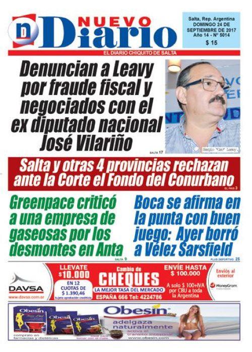 Tapa del 24/09/2017 Nuevo Diario de Salta