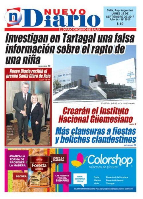 Tapa del 25/09/2017 Nuevo Diario de Salta