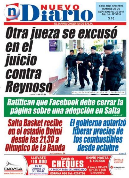 Tapa del 26/09/2017 Nuevo Diario de Salta
