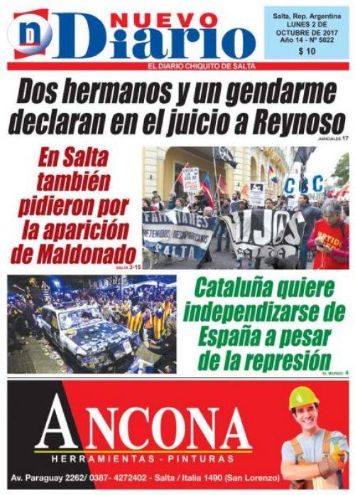 Tapa del 02/10/2017 Nuevo Diario de Salta