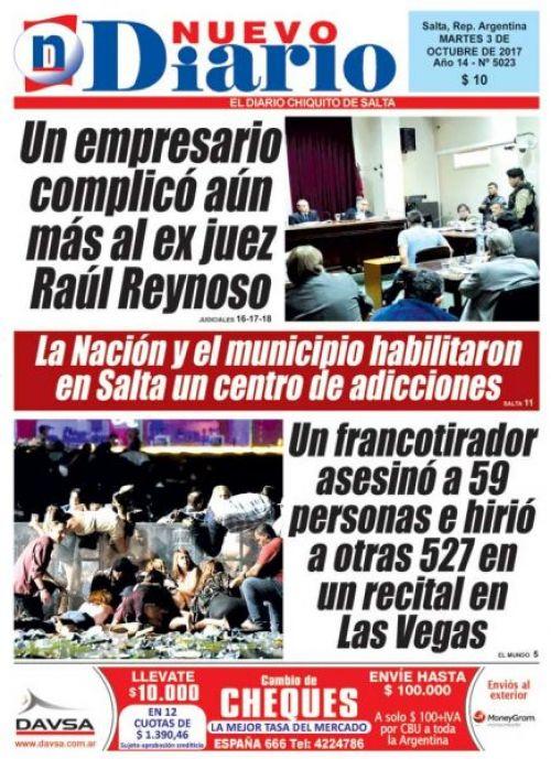 Tapa del 03/10/2017 Nuevo Diario de Salta