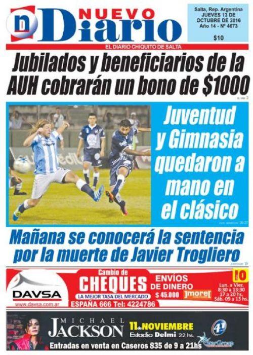 Tapa del 13/10/2016 Nuevo Diario de Salta