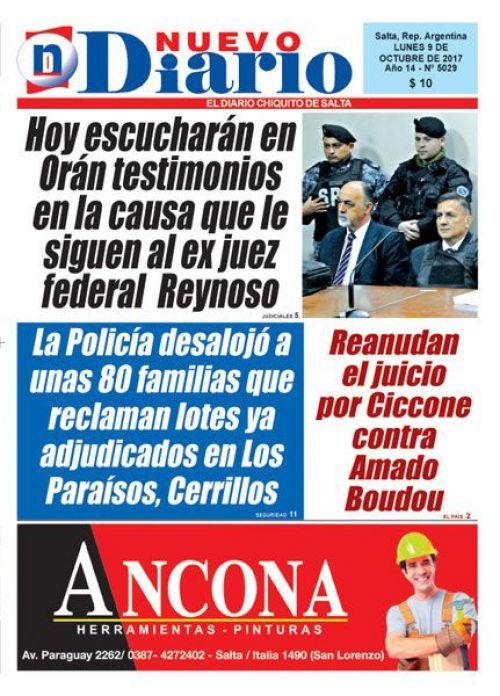 Tapa del 09/10/2017 Nuevo Diario de Salta
