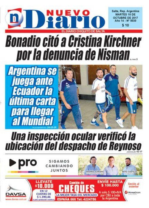 Tapa del 10/10/2017 Nuevo Diario de Salta