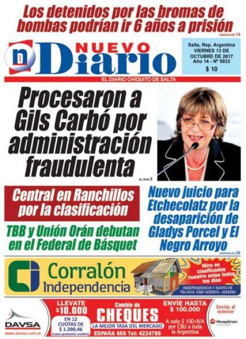 Tapa del 13/10/2017 Nuevo Diario de Salta