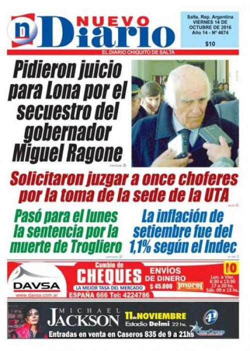 Tapa del 14/10/2016 Nuevo Diario de Salta