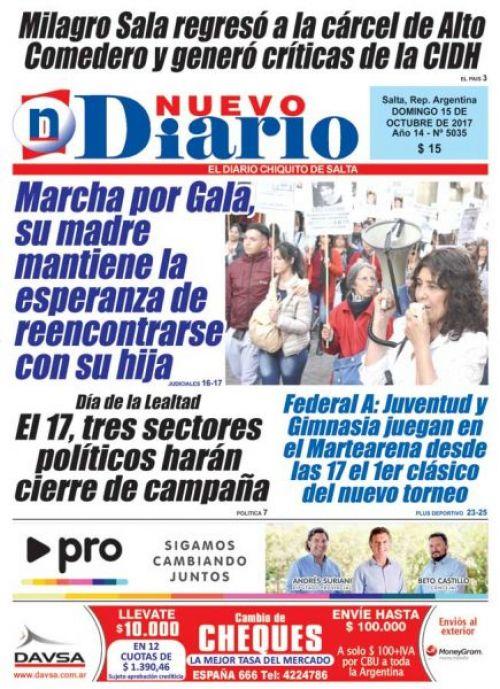 Tapa del 15/10/2017 Nuevo Diario de Salta