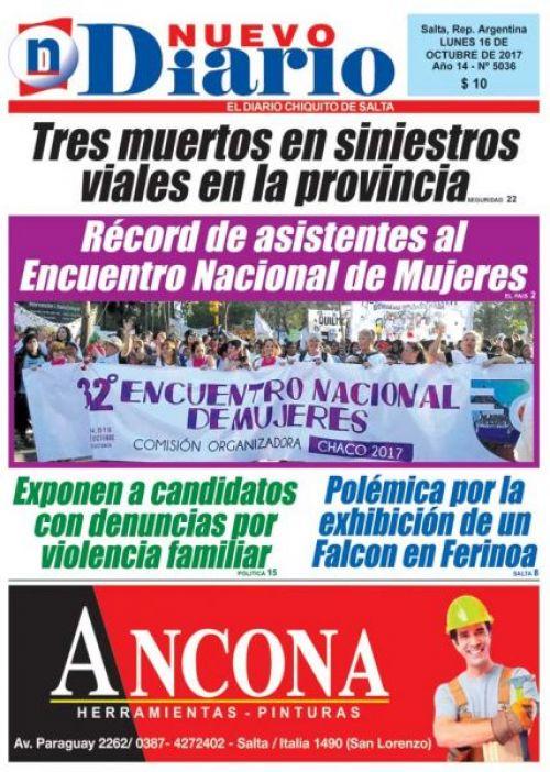 Tapa del 16/10/2017 Nuevo Diario de Salta