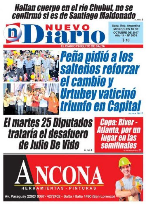 Tapa del 18/10/2017 Nuevo Diario de Salta