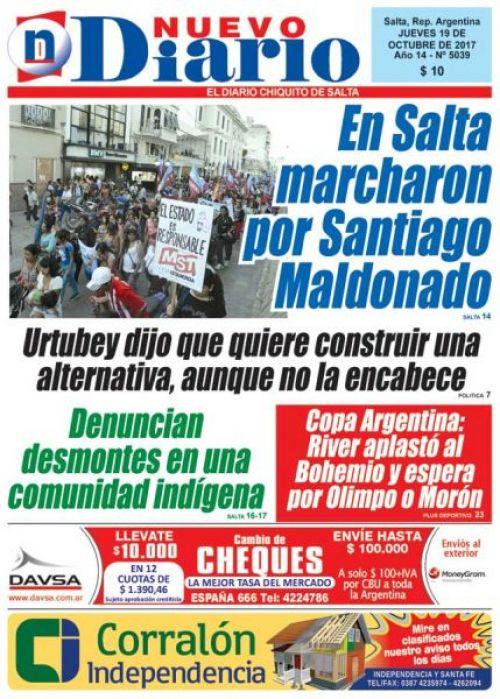 Tapa del 19/10/2017 Nuevo Diario de Salta