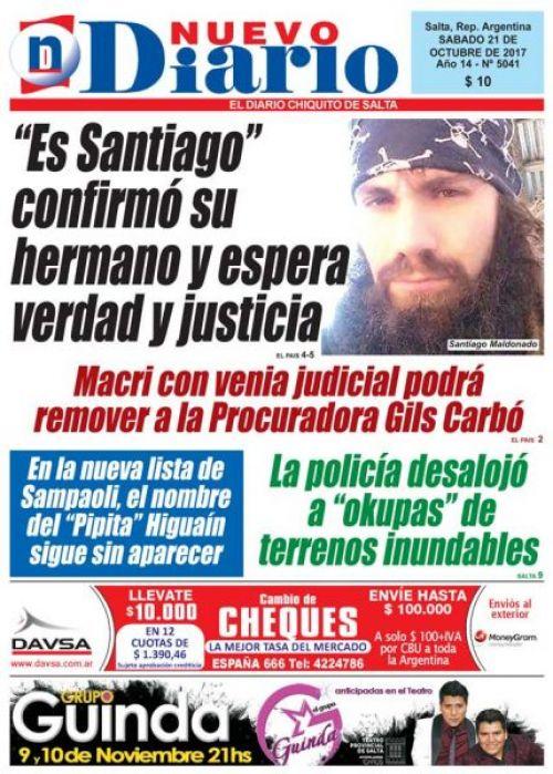 Tapa del 21/10/2017 Nuevo Diario de Salta