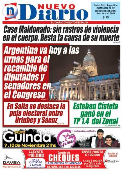 Tapa del 22/10/2017 Nuevo Diario de Salta