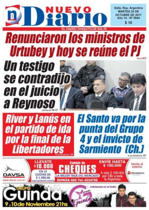 Tapa del 24/10/2017 Nuevo Diario de Salta